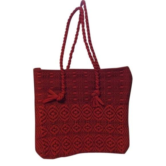 Vintage Handbags - Vintage Woven Red Fabric Tote